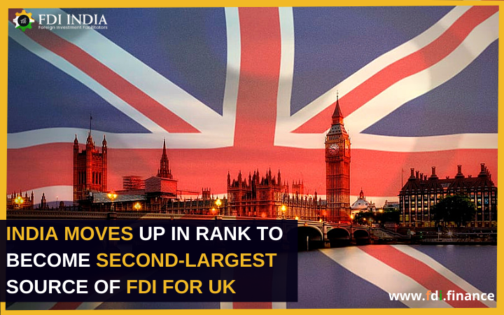 India Moves Up in Rank to become Second-Largest Source of FDI for UK