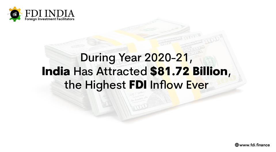 During 2020-21, India Has Attracted $81.72 Billion, the Highest FDI Inflow Ever
