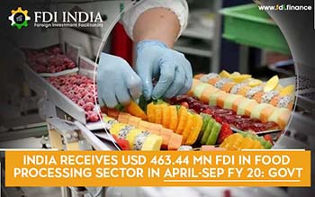 India Receives USD 463.44 mn FDI in Food Processing Sector in April-Sep FY 20: Govt