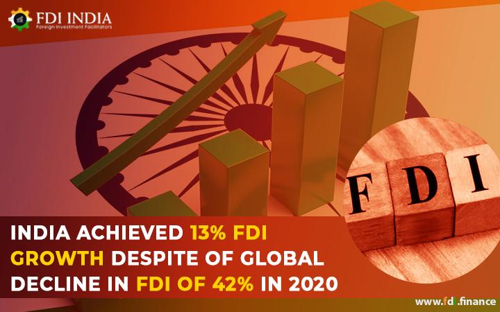 India Achieved 13?I Growth Despite Of Global Decline in FDI Of 42% In 2020