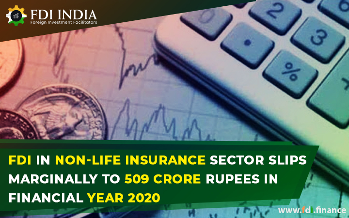 FDI in non-life insurance sector slips marginally to 509 crore rupees  in Financial Year 2020