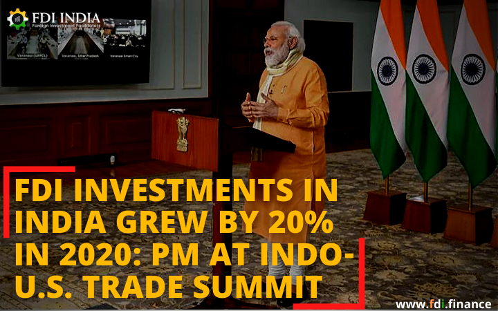 FDI investments in India grew by 20% in 2020: PM at Indo-US trade summit
